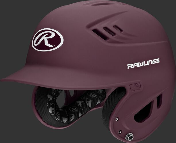 A maroon R16MS Velo batting helmet with Cool-Flo vents