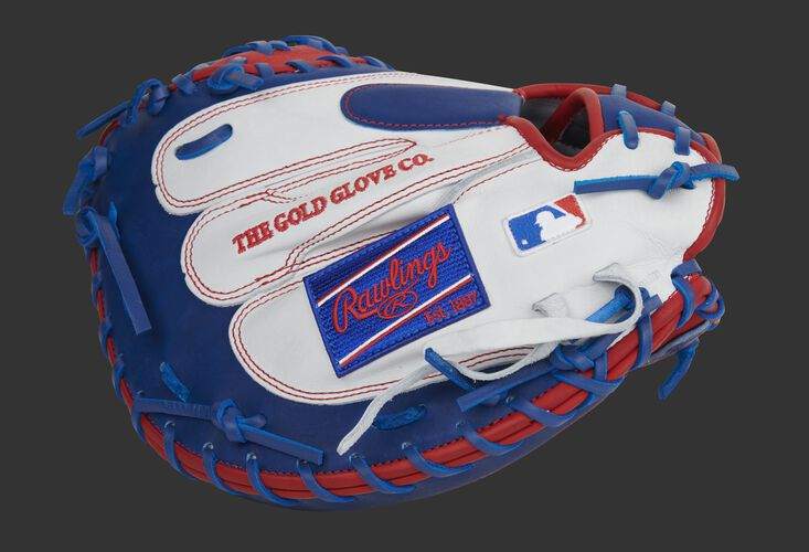 White finger backs of a HOH catcher's mitt with a royal Rawlings patch and MLB logo - SKU: PROCM41SWR