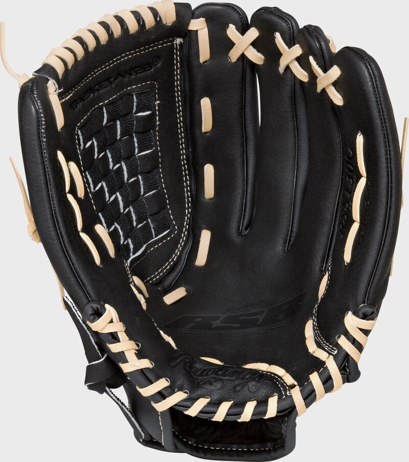 RSS130C Rawlings Softball Series 13-inch recreational glove with a black palm and camel laces