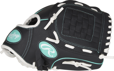 Thumb view of a black Players Series 10-inch tee ball glove with a black Basket web