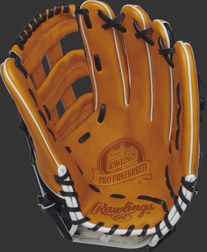 Palm view of a PROS3039-6TN 12.75-inch Rawlings baseball glove with a rich tan palm and navy laces