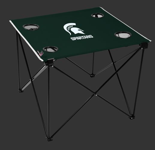 Rawlings Green NCAA Michigan State Spartans Deluxe Tailgate Table With Four Cup Holders and Team Logo Printed In The Middle SKU #00713038111