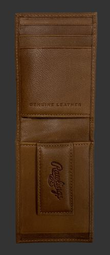 Inside of a tan debossed stitch front pocket wallet with a magnetic money clip on the bottom - SKU: RPW009-204