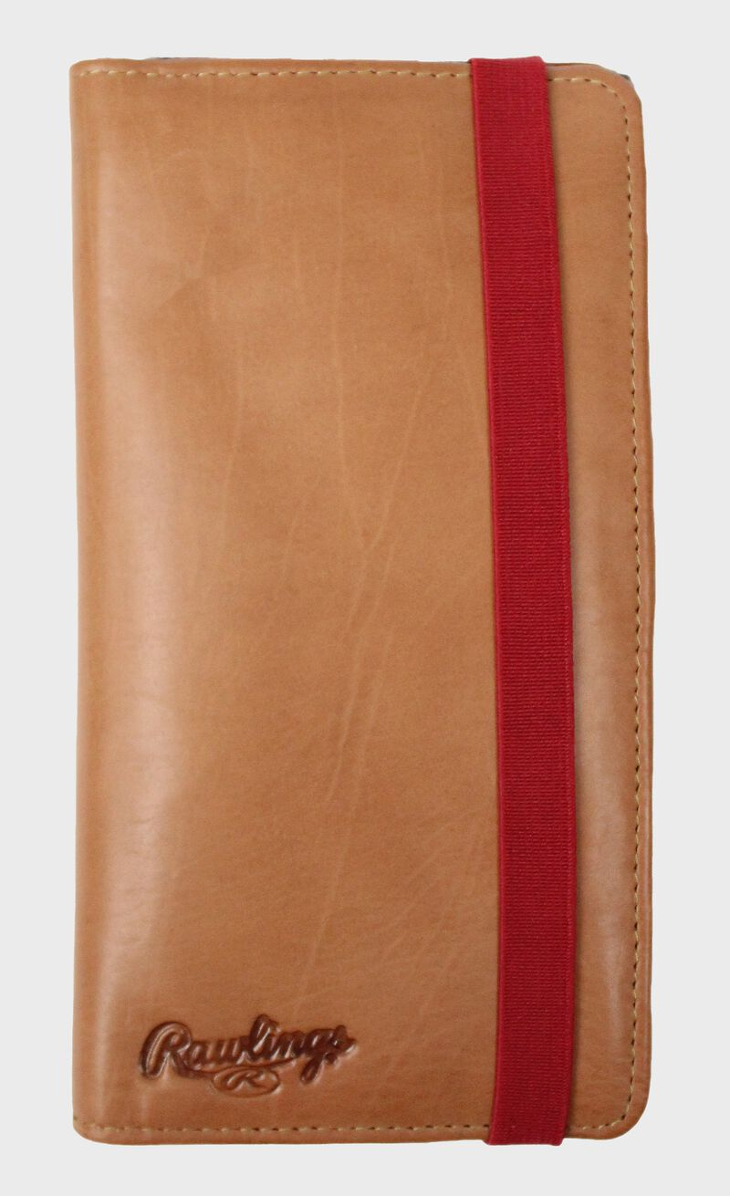 A tan Rawlings universal magnetic phone case with a red elastic closure strap - SKU: RO90006-204