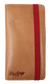 A tan Rawlings universal magnetic phone case with a red elastic closure strap - SKU: RO90006-204 image number null