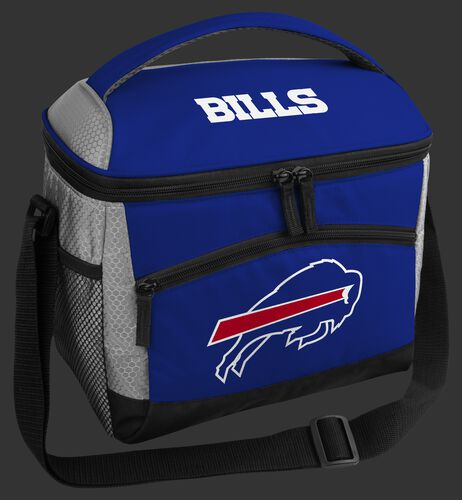 A blue Buffalo Bills 12 can soft sided cooler with a team logo on the front - SKU: 10111061111