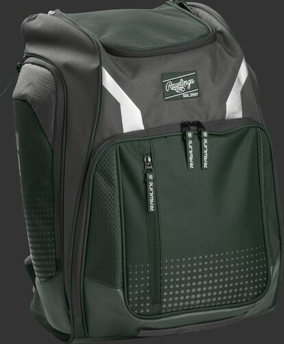 Right angle view of a dark green Rawlings Legion backpack - SKU: LEGION-DG