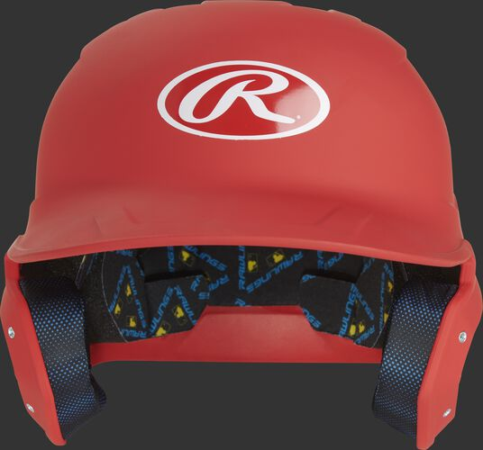 Front of a MCH07A high school/college Mach Alpha helmet with a scarlet shell and Oval R logo