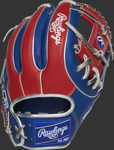 Back of a Heart of the Hide R2G 11.5-Inch I-web glove with a royal Rawlings patch - SKU: RSGPROR314-2RS