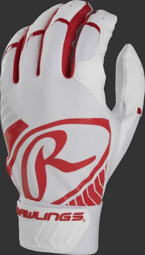 Back of a white/scarlet adult 5150 batting glove with a large scarlet oval-R across the back of the palm - SKU: BR51BG-S