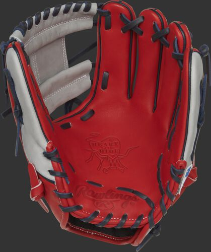Scarlet palm of a Rawlings Los Angeles Angels HOH glove with navy laces - SKU: RSGPRO204-2LAA