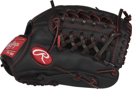 R9YPT4-4B R9 Series 11.5-inch pro taper infield/pitcher's glove with a black palm and black Modified Trap-Eze web