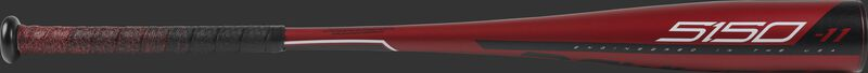 Barrel view of a red US9511 2019 5150 USA bat with black/white accents