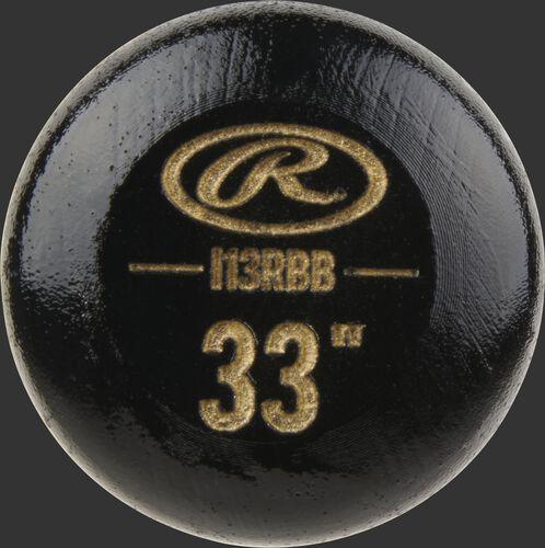 "Black knob of a Rawlings Big Stick Elite Birch bat with an engraved Oval-R and 33"" size - SKU: I13RBB"