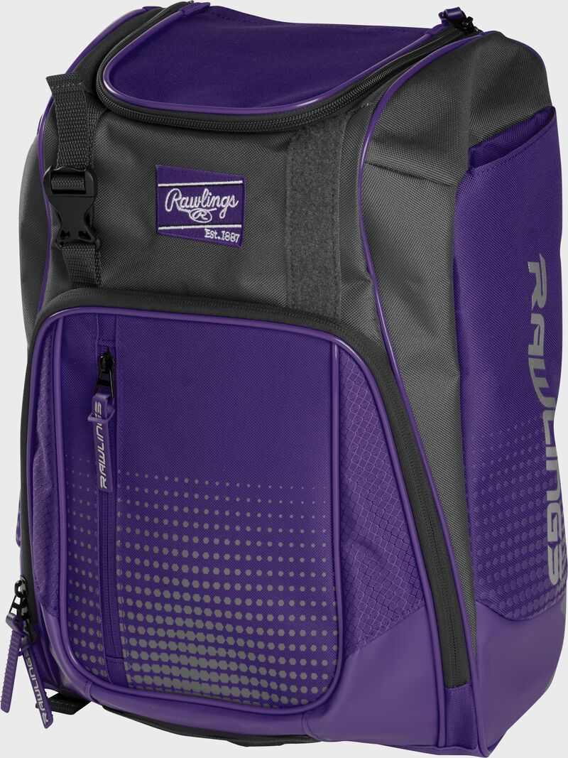 Front angle of a purple Franchise backpack with gray accents and purple Rawlings patch logo - SKU: FRANBP-PU