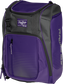 Front angle of a purple Franchise backpack with gray accents and purple Rawlings patch logo - SKU: FRANBP-PU image number null
