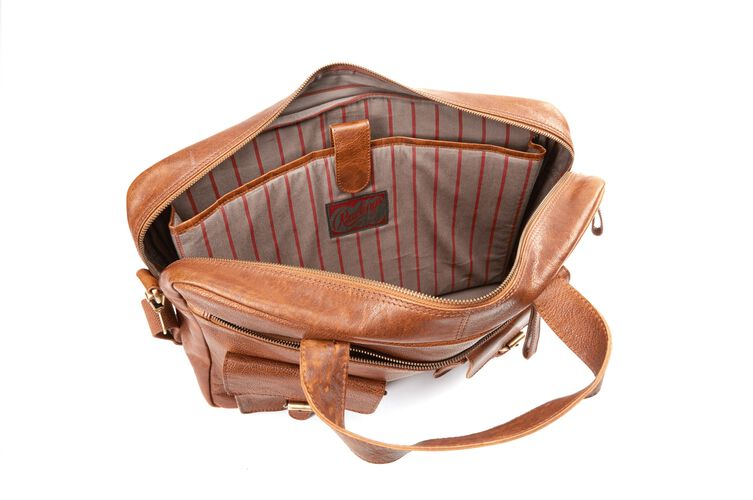 Inside of a Rawlings rugged briefcase with grey/red striped lining - SKU: V609-202