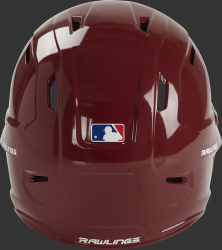 Back of a cardinal red MCH01A Rawlings Mach batting helmet with a MLB logo sticker