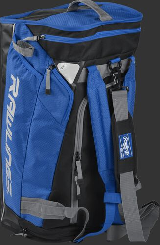 Angled view of a royal R601 Rawlings hybrid bag standing up like a backpack