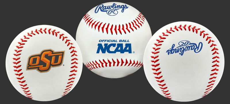 3 views of a NCAA Oklahoma State Cowboys baseball with a team logo, NCAA logo and Rawlings logo
