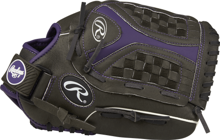 ST1200FPUR Storm 12-inch outfield glove with a black thumb and black/purple Funnel web