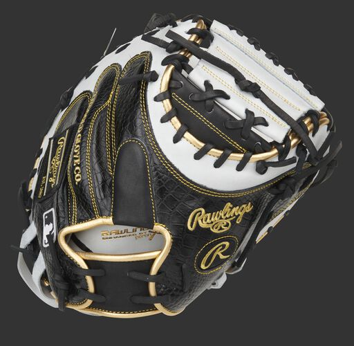 Black croc embossed leather back of a Heart of the Hide 34-Inch catcher's mitt - SKU: PROCM41BW