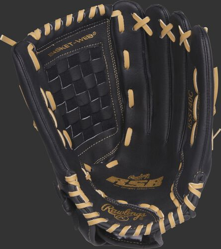 RSS140C 14-inch Rawlings RSB glove with a black palm and camel laces