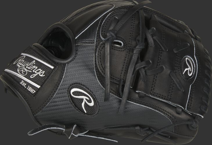 Thumb of a black 2021 Heart of the Hide Hyper Shell infield/pitcher's glove with a black 2-Piece Solid web - SKU: PRO205-9BCF