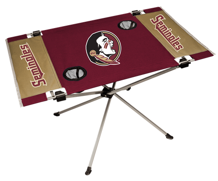 NCAA Florida State Seminoles tailgate table in team colors with a printed team logo in the middle and two cup holders
