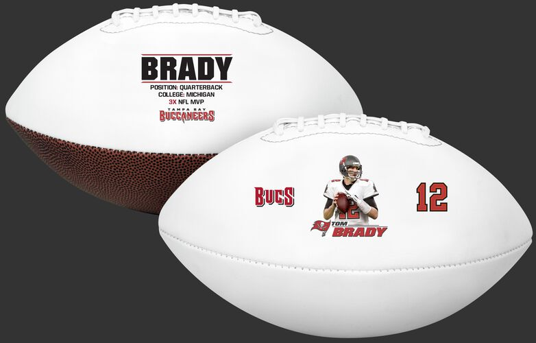 Two images showing both sides of a Tom Brady full size football - SKU: 35341108111