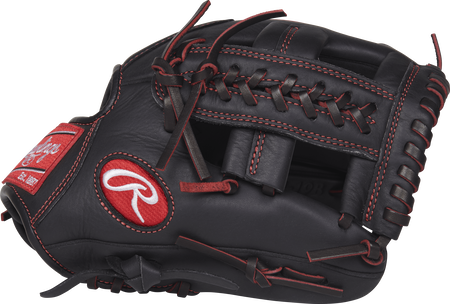 Thumb view of a black R9YPT1-19B R9 Series 11-inch youth infield glove with a black X Laced Single Post web