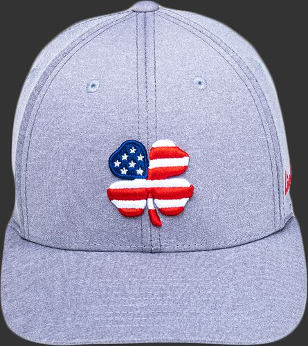 A gray Rawlings Black Clover USA heathered fitted hat with a red, white and blue clover leaf logo - SKU: BCR1RUH0071