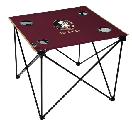 A maroon NCAA Florida State Seminoles deluxe tailgate table with four cup holders and team logo printed in the middle