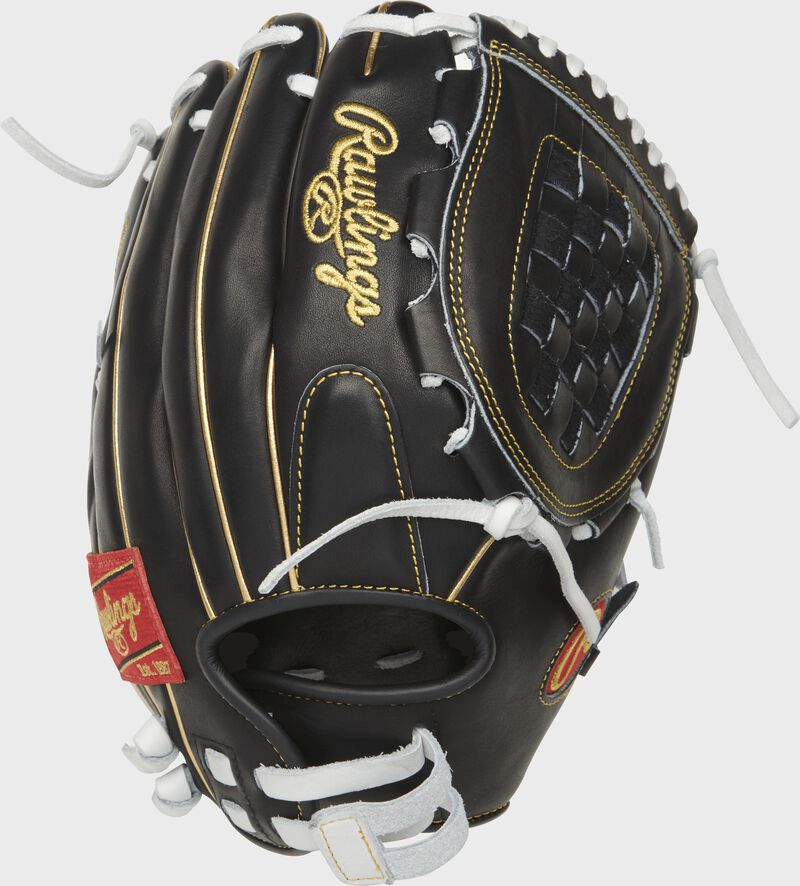 Back view of a black 12-inch Heart of the Hide basket web glove with a black back and Pull-strap design