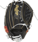 Back view of a black 12-inch Heart of the Hide basket web glove with a black back and Pull-strap design image number null