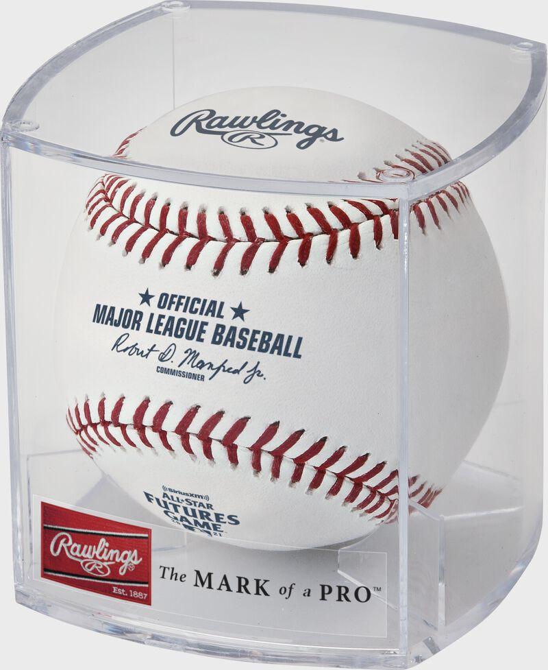 A MLB All-Star Futures Game baseball in a display cube - SKU: ROMLBAF21-R