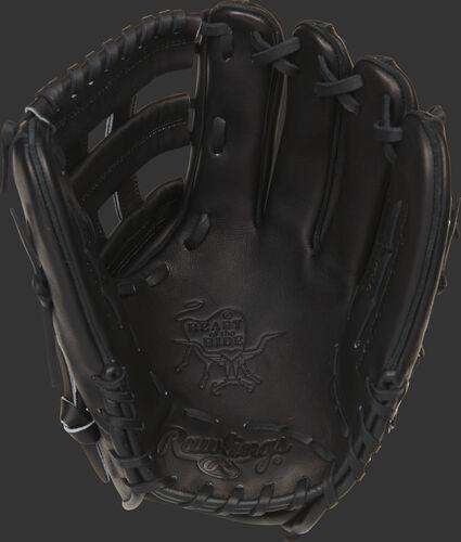 Black palm of a Rawlings HOH H-web glove with black laces - SKU: PRO10006JBPRO