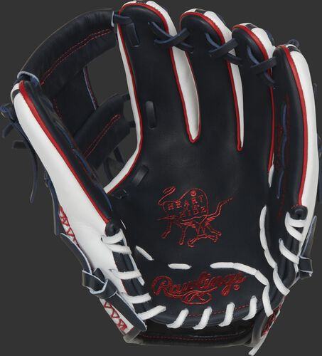Navy palm of a Rawlings HOH ColorSync 5.0 infield glove with red stamping and white laces - SKU: PRO314-2NW