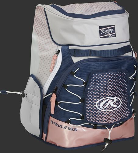 Front right of a white/navy/rose gold R800 softball backpack