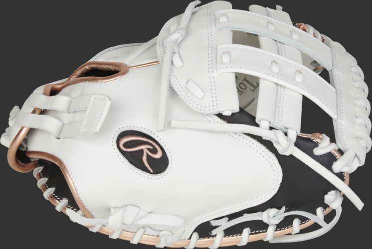 Thumb of a white/black 2021 Liberty Advanced 33-Inch fastpitch catcher's mitt with a white Modifed H-web - SKU: RLACM33RG