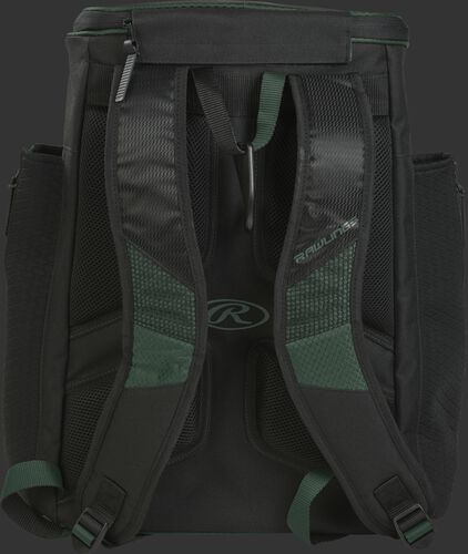 Back of a dark green/black R600 Rawlings Players backpack with black shoulder straps
