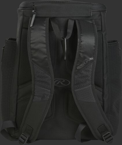 Back of a black R600 Rawlings Players backpack with black shoulder straps