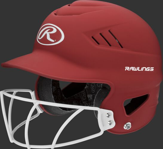 A scarlet RCFHLFG Coolflo batting helmet with a white facemask