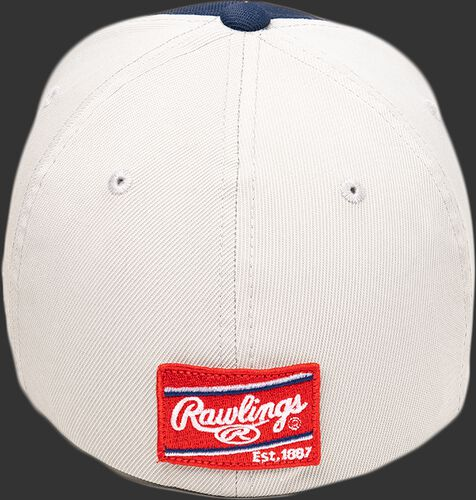 White back of a Black Clover Clover Nation fitted hat with a red Rawlings patch - SKU: BCR1RCN0071