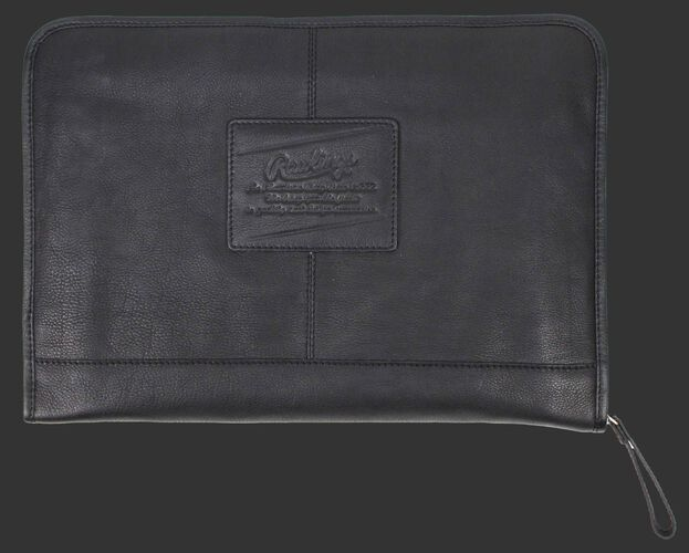 A black rugged portfolio with a leather Rawlings patch logo in the middle - SKU: V614-001