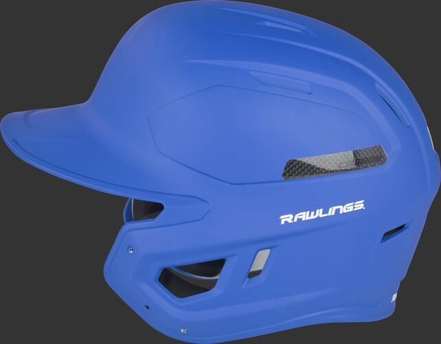 Left side of a matte royal CAR07A MACH Carbon high performance batting helmet with a carbon fiber plate insert