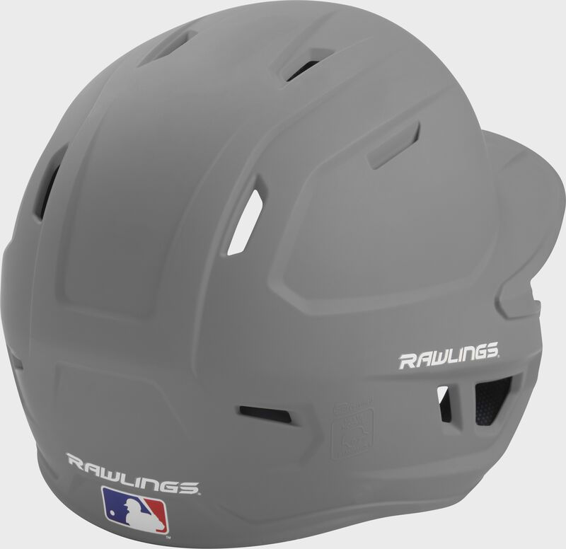 Back right of a one-tone matte silver MACH Rawlings batting helmet