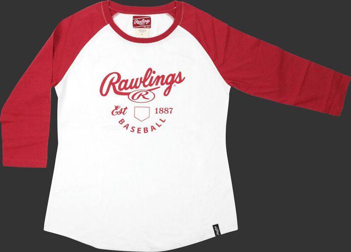 Front of Rawlings White/Scarlet Women's EST Raglan Baseball T-Shirt - SKU #RA30002-623