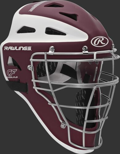 Front right of a maroon/white CHVELY Rawlings Velo catcher's helmet