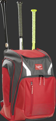 Front angle view of a Rawlings Legion bag with 3 bats in the back - SKU: LEGION-S